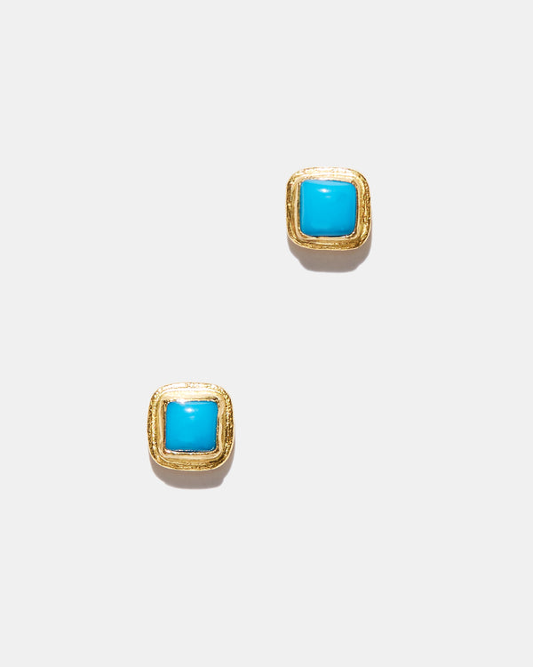 Sleeping Beauty Turquoise Square Studs-Ara Collection-Mercantile Portland