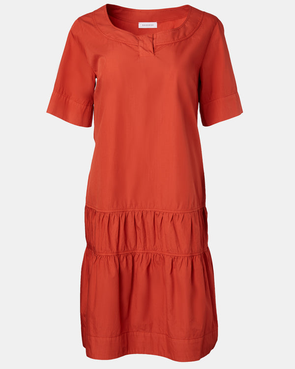 Tiered Boatneck Dress-Rosso35-Mercantile Portland