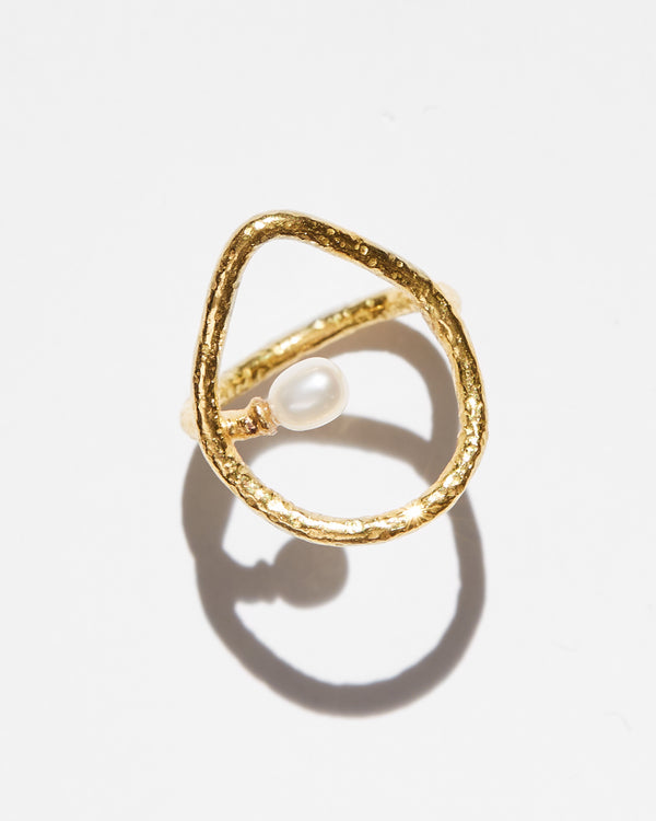 Open Teardrop Pearl Ring-Ara Collection-Mercantile Portland