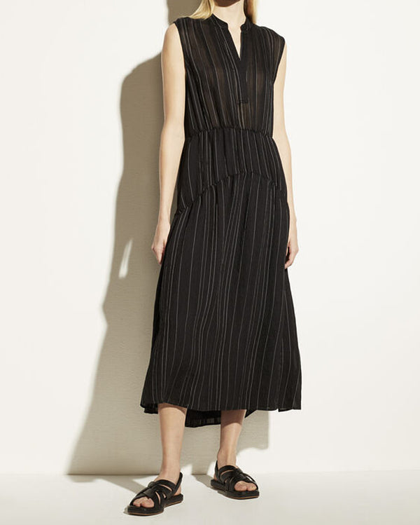 Drapey Stripe Tiered Dress-Vince-Mercantile Portland