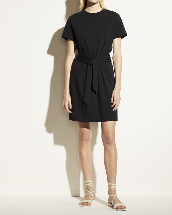 Short Sleeve Tie Waist Dress-Vince-Mercantile Portland