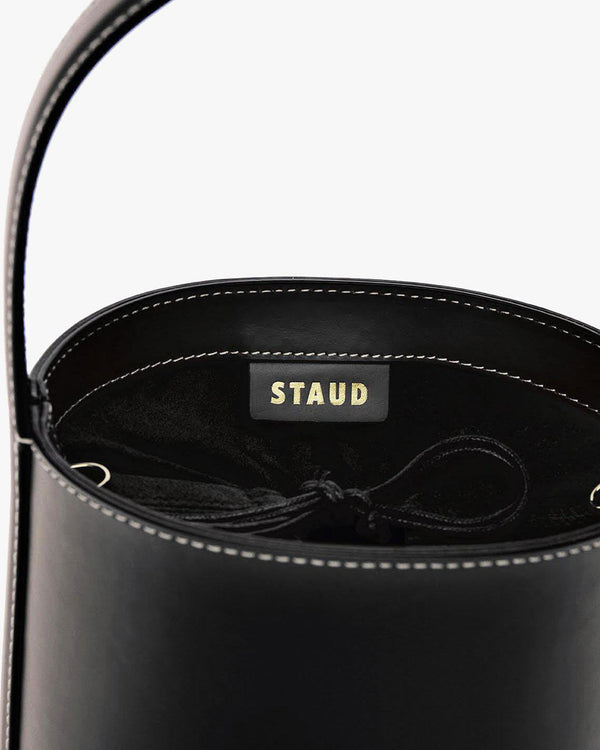 Bisset Leather Bucket Bag | Black-Staud-Merc Fashion