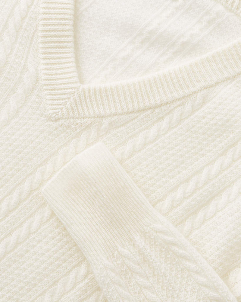 Cable Knit V-Neck Sweater-Naadam-Mercantile Portland