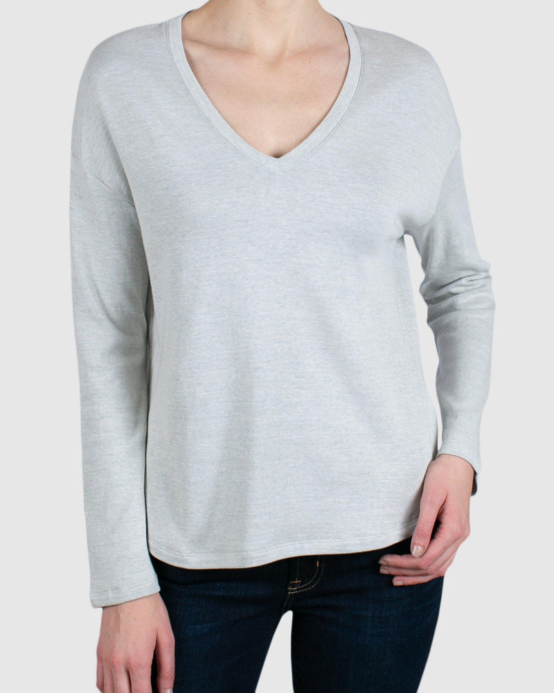 Cotton/Cashmere Long Sleeve V-Neck-Majestic Filatures-Merc Fashion