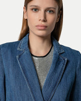 Double-Breasted Denim Jacket-Forte Forte-Merc Fashion