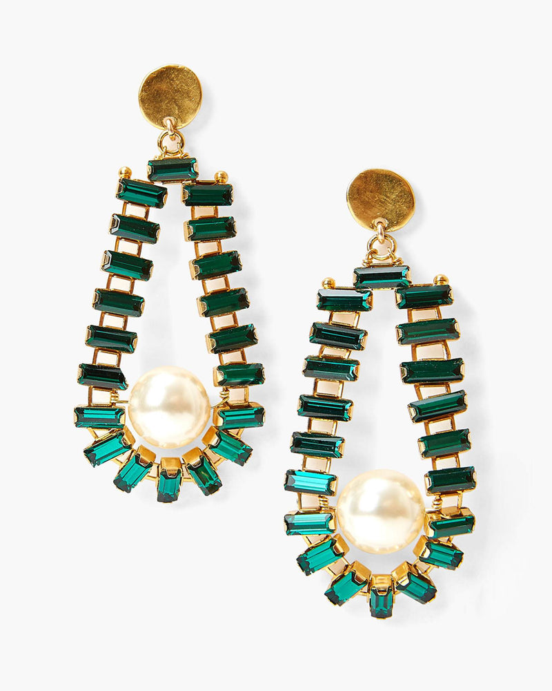 Emerald Crystal And Pearl Teardrop Earrings