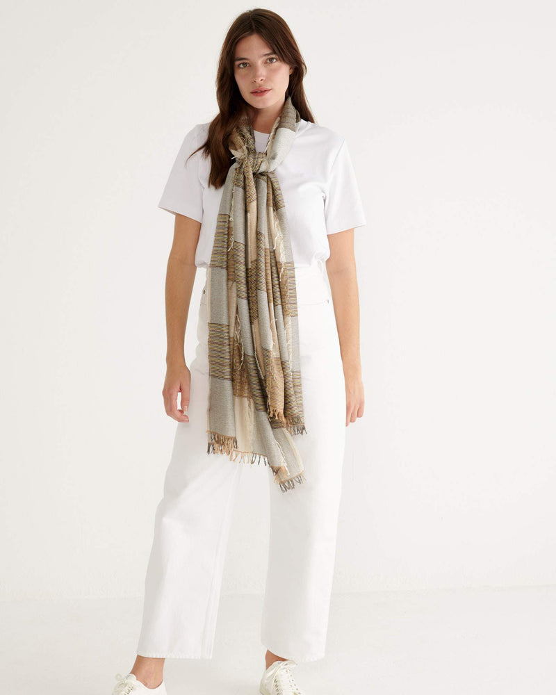 Feather Check Scarf