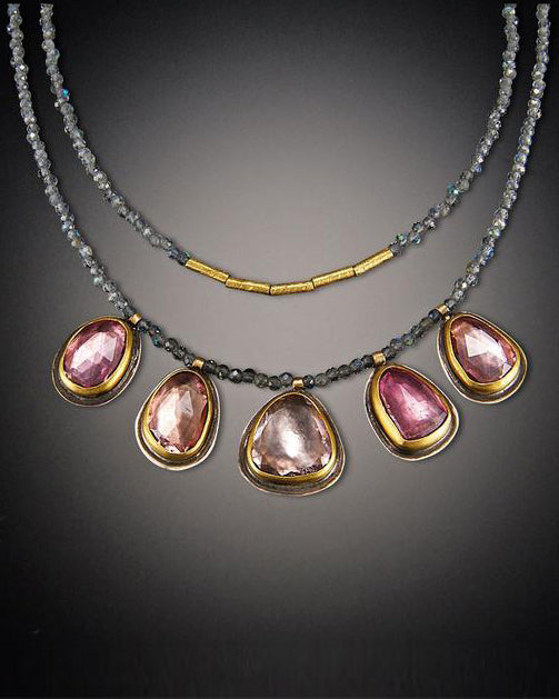 Five Pink Tourmaline and Labradorite Beaded Necklace-Ananda Khalsa-Mercantile Portland