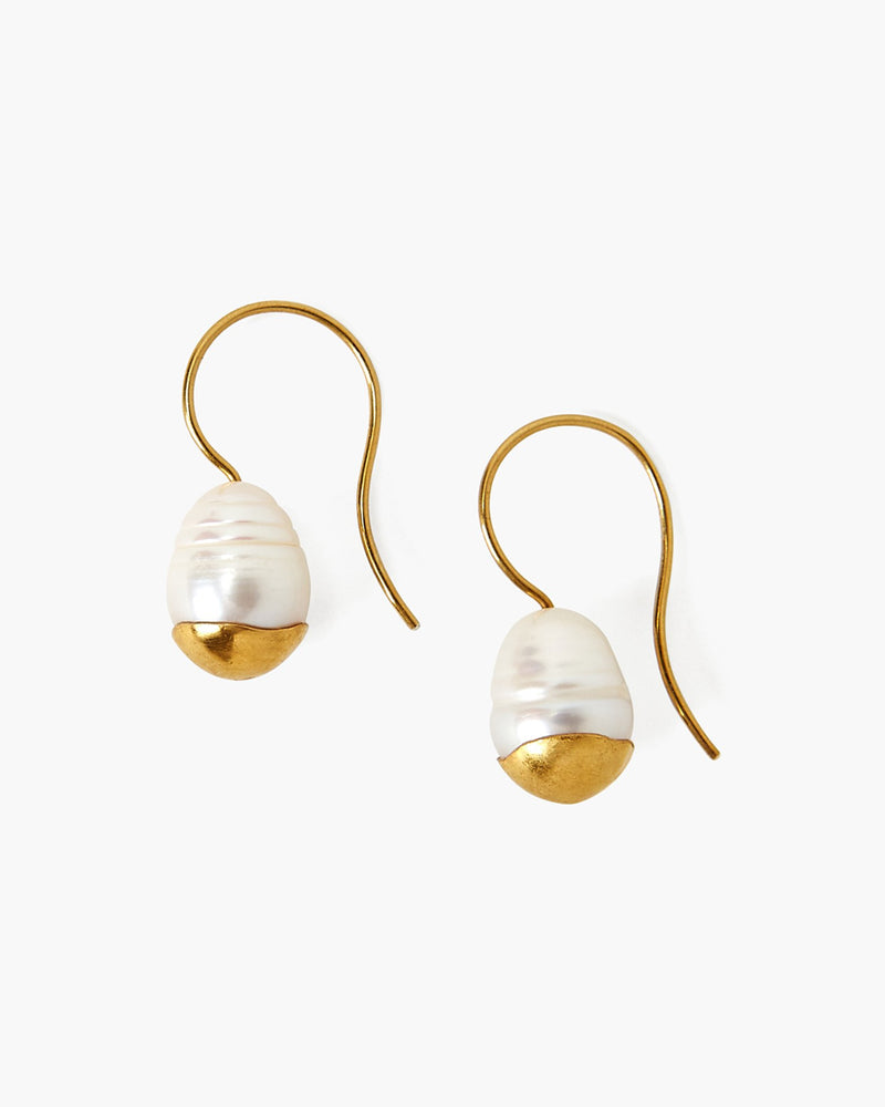 Gold-Dipped Pearl Drop Earrings