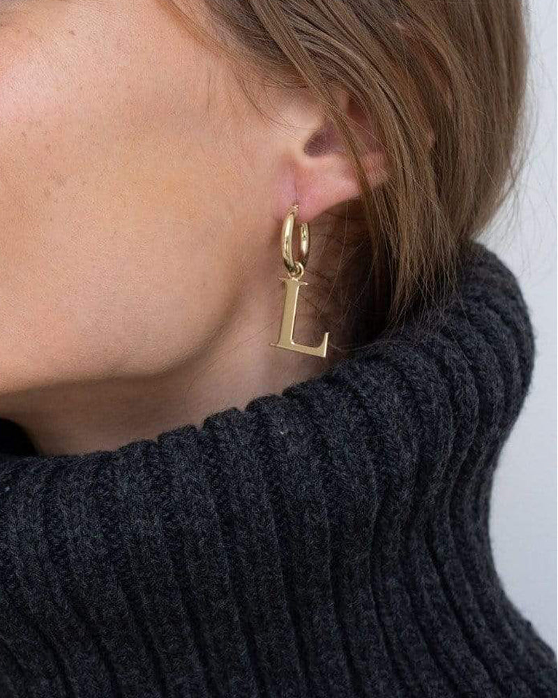 Maddi Initial Earrings-Jennifer Zeuner-Mercantile Portland