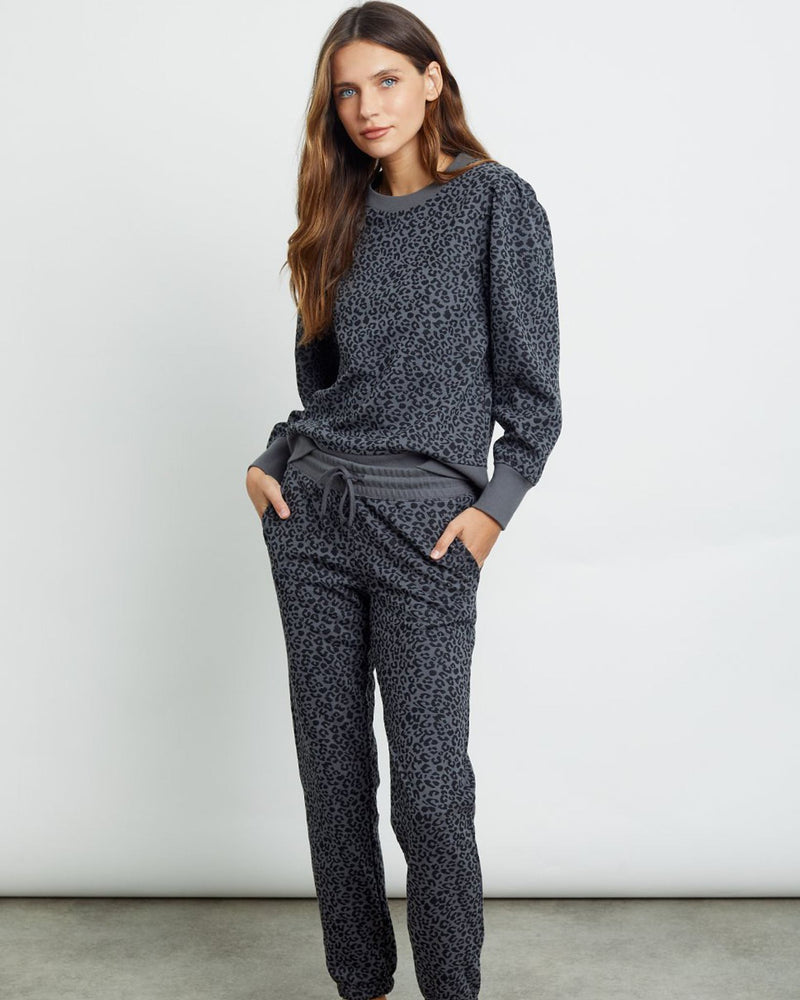 Kingston Sweatpant - Charcoal Mini Cheetah