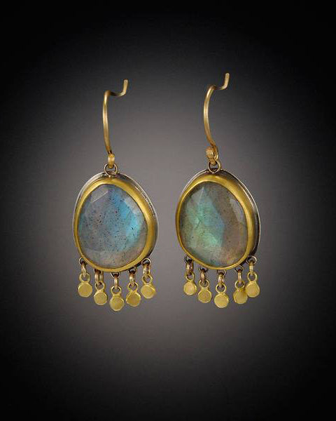 Labradorite Earrings with 22k Gold Fringe-Ananda Khalsa-Mercantile Portland