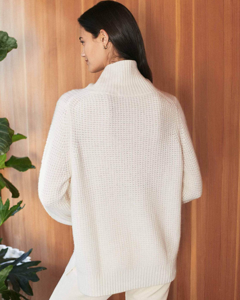 Luxe Cashmere Waffle Mock Neck