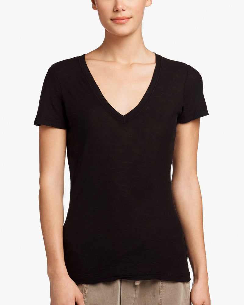 Sheer Slub V-Neck