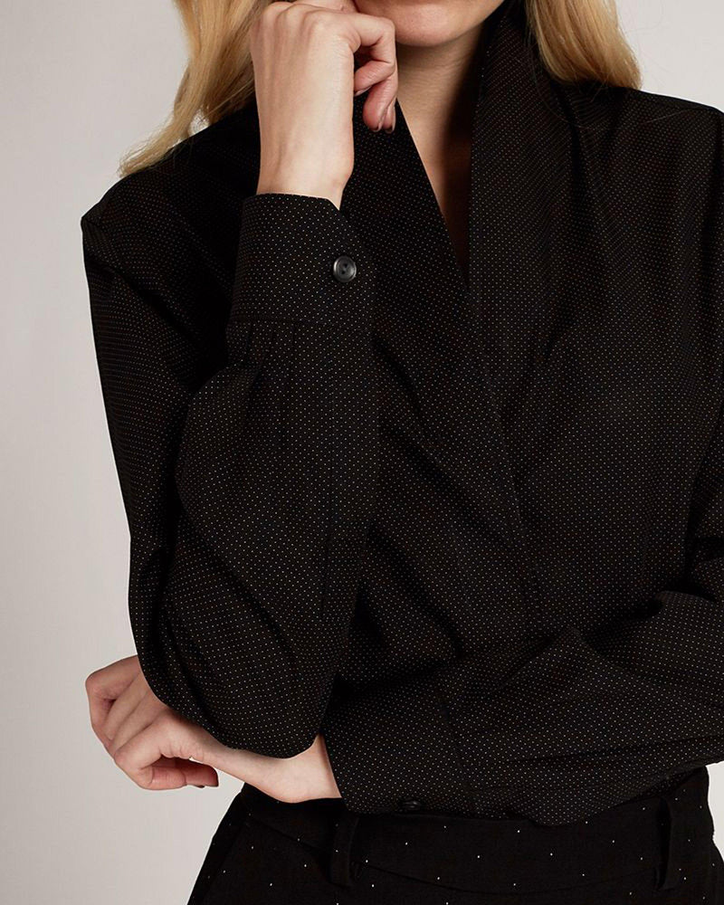 Signature Black Diamond Shaped Collar Shirt-Sarah Alexandra-Merc Fashion
