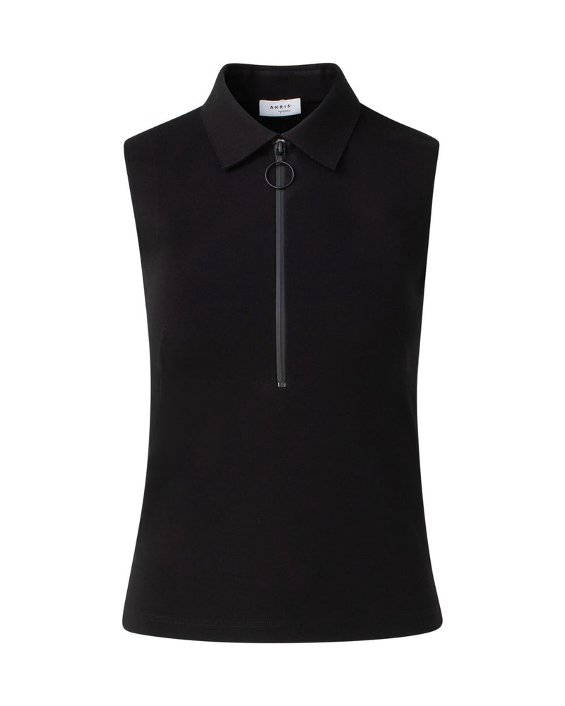 Sleeveless Zip Polo Shirt