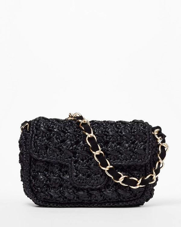 Straw Baguette Bag - Black