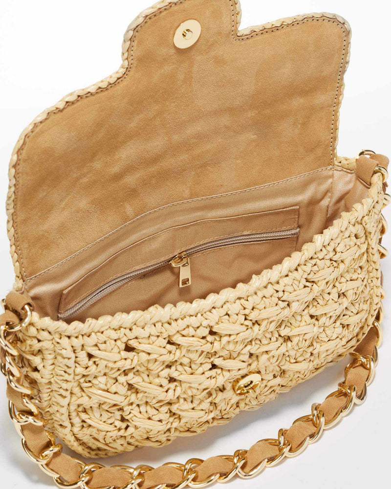 Straw Baguette Bag - Natural
