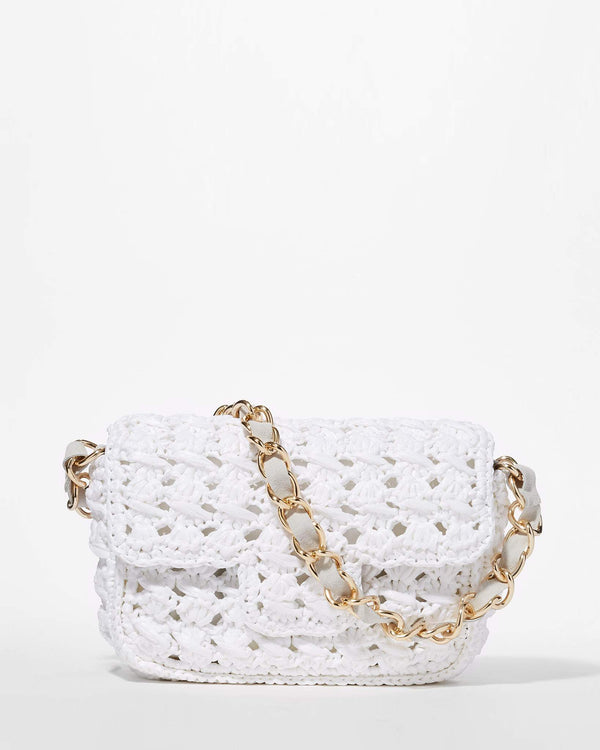 Straw Baguette Bag - White