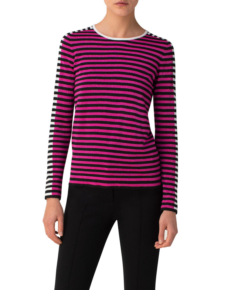 Striped Long Sleeve Pullover-Akris Punto-Merc Fashion