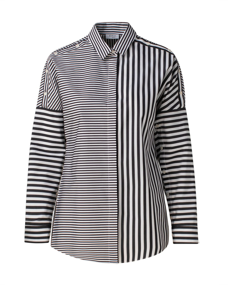 Striped Patchwork Cotton Poplin Blouse-Akris Punto-Mercantile Portland