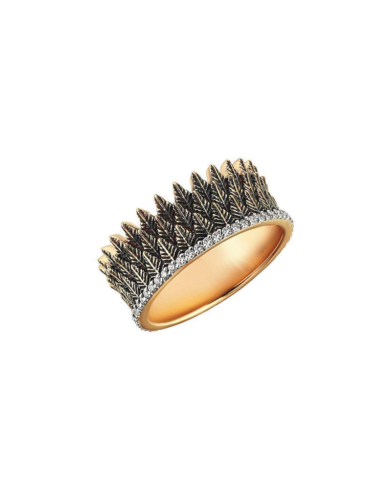White Diamond Feather Ring