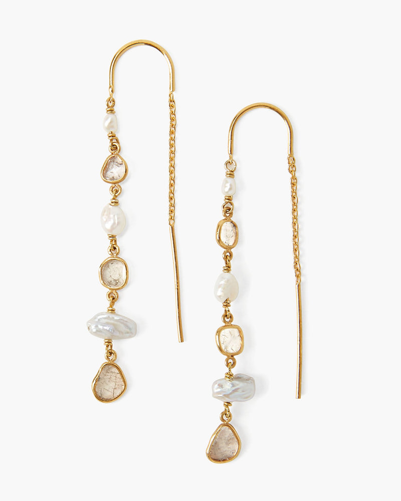 White Pearl And Diamond Gold Thread-Thru Earrings