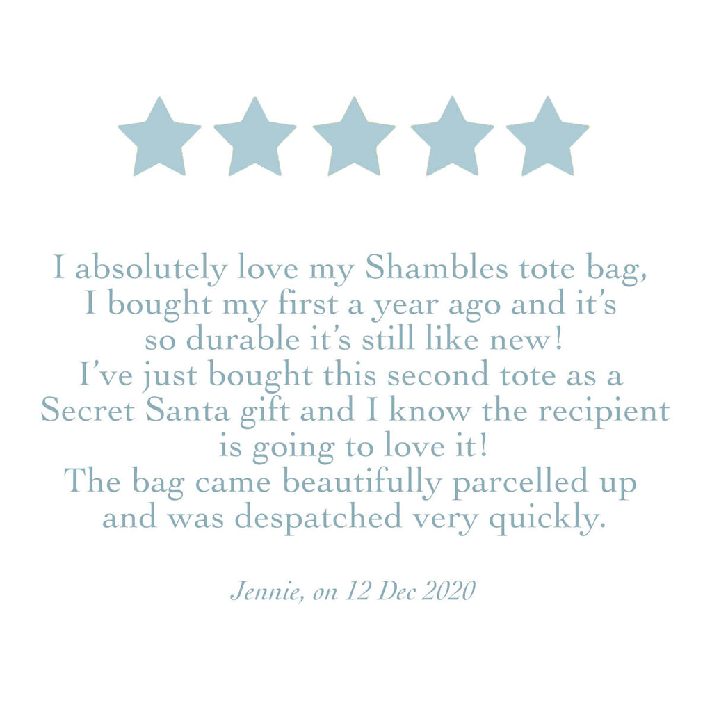MarcoLooks Product Review. 5 stars. I absolutely love my Shambles tote bag, I bought my first a year ago and it's so durable it's still like new! I've just bought this second tote as a Secret Santa gift and I know the recipient is going to love it!