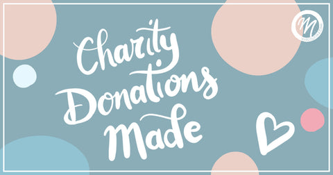 MarcoLooks Charity Donations Update. A dusty blue background, with peach and teal dots, with handwritten calligraphy on top.