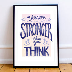 """MarcoLooks Print saying """"You Are Stronger Than You Think"""" in shades of indigo, peach and cream"""