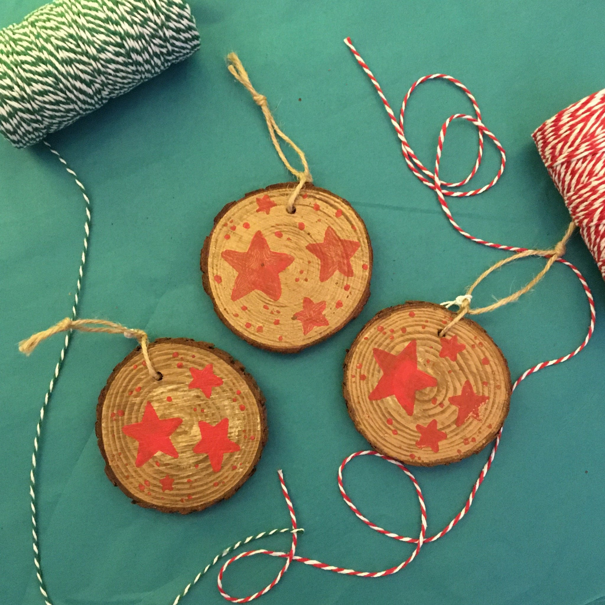 3 Wooden Slice Christmas Tree Decorations - Red Stars