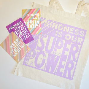 BUNDLE: Kindness Tote Bag and Mini Print Postcards Bundle