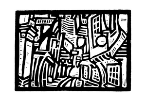 The Shambles (black and white), York, Linocut Digital Print