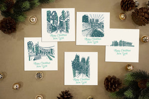 "Five York Christmas Cards. ""Merry Christmas From York"". Scenes including York Minster and the Shambles"
