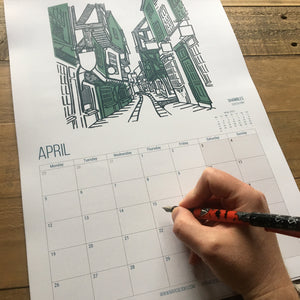 City of York Calendar featuring original artwork from MarcoLooks. April 2021 featuring The Shambles
