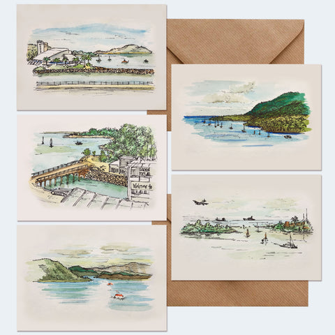 MarcoLooks. 5 x Hand painted watercolour Indonesian Australian Ports Notecards. Scenes include: Benoa (Bali), Cairns, Cooktown, Darwin, Townsville. All cards are A6, Blank inside for your own greetings, Come with kraft envelopes. These cards hold a very special place in my heart. I painted all these scenes on our honeymoon.