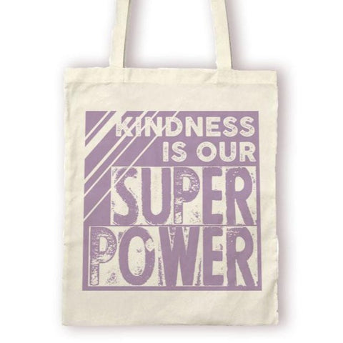 "MarcoLooks ""Kindness is Our Super Power"" Canvas Bag, with purple screen printed text"