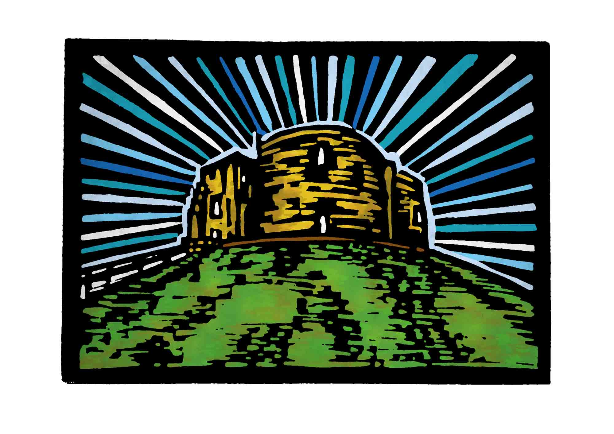 Clifford's Tower, York, Linocut Print
