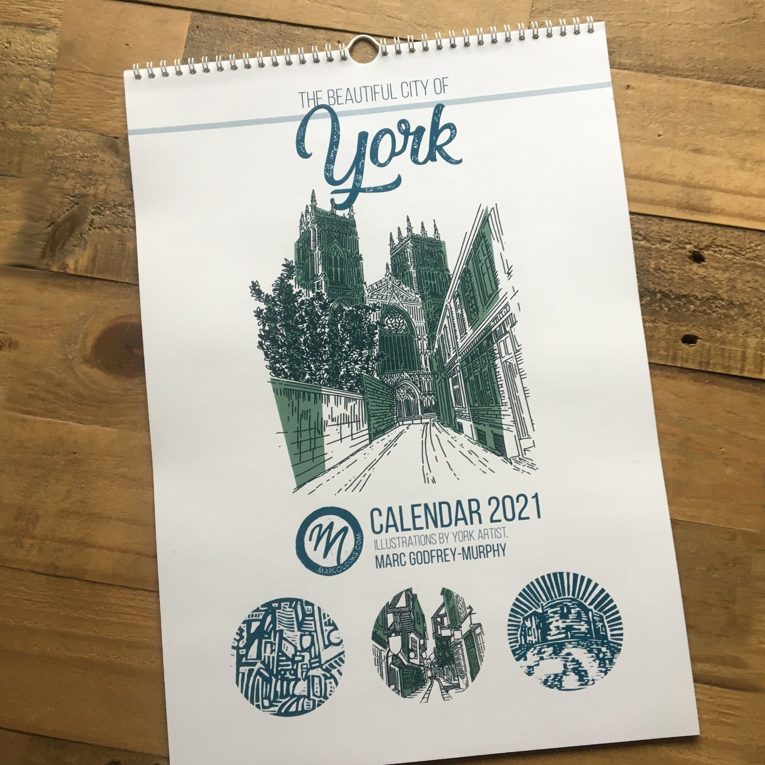 City of York Calendar featuring original artwork from MarcoLooks. Cover image of York Minster