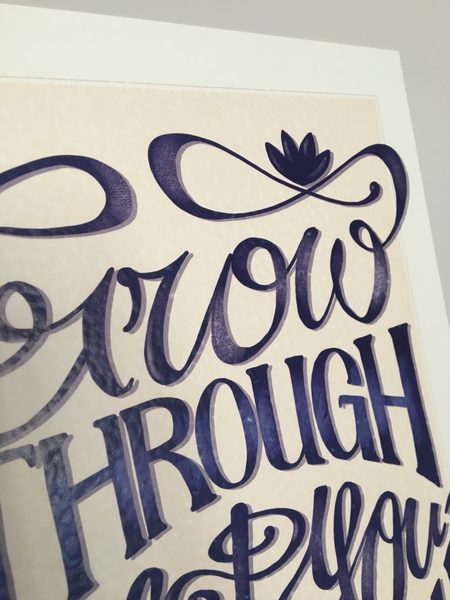 "Close up of artwork reading ""Grow Through What You Go Through"", showing the texture of the paper used."
