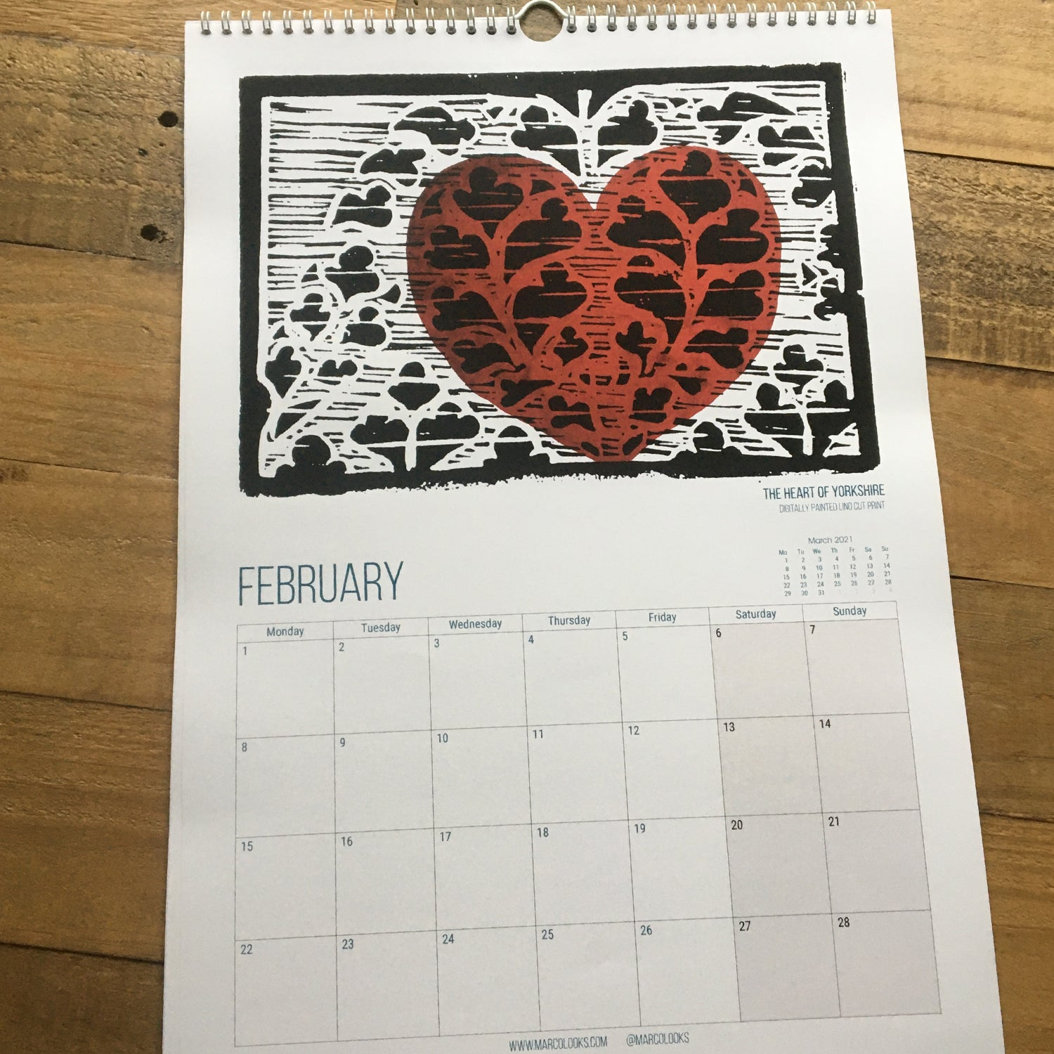 City of York Calendar featuring original artwork from MarcoLooks. February 2021 featuring The Heart of Yorkshire