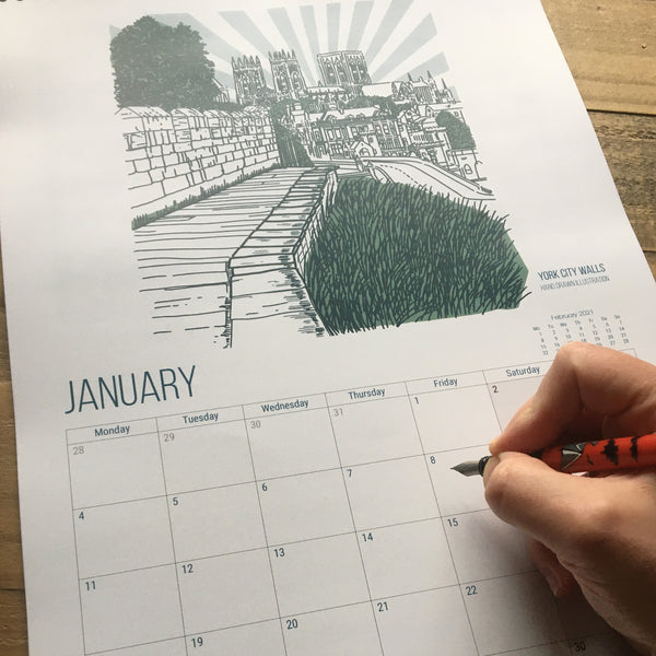 City of York Calendar featuring original artwork from MarcoLooks. January 2021 featuring York City Walls with a view of the Minster