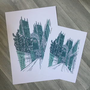 York Minster, Hand Illustrated Print