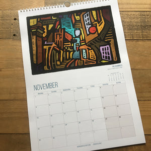 City of York Calendar featuring original artwork from MarcoLooks. November 2021 featuring the Shambles Lino Cut Print