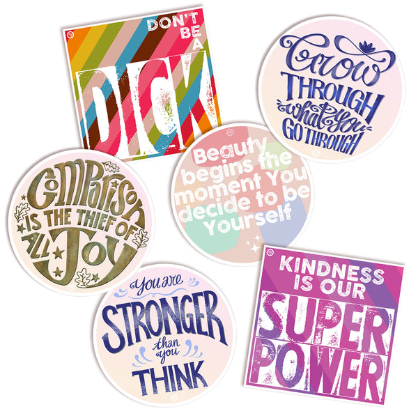 "MarcoLooks Kindness Super Pack of Vinyl Stickers  ""Kindness is Our Super Power"" ""You Are Stronger Than You Think"" ""Don't Be a Dick"" ""Beauty Begins the Moment You Decide to Be Yourself"" ""Grow Through What You Go Through"" ""Comparison is the Thief of All Joy"" vinyl stickers"