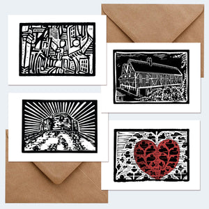 MarcoLooks York Landmarks Greetings Cards, from my Lino Cut prints.  Scenes include:  The Shambles Clifford's Tower Merchant Adventurers' Hall The Heart of Yorkshire, above the entrance to York Minster