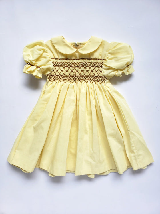 Hand Smocked Yellow Dress | 6M