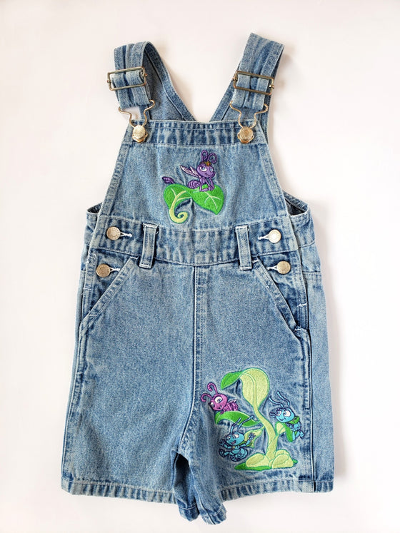 Vintage A Bug's Life Denim Shortalls | 2T