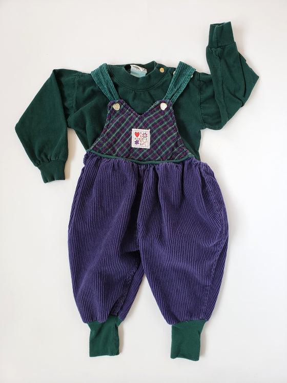 Vintage Krickets Purple and Green Corduroy Overall Outfit | 18M