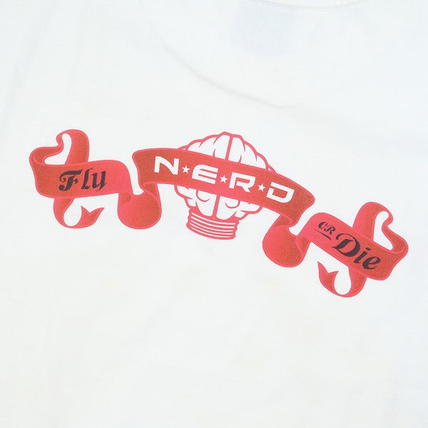 A BATHING APE ア ベイシング エイプ ×N.E.R.D エヌ イー アール ディー ロゴTシャツ 白赤 Size【L】 【中古品-ほぼ新品】【中古】